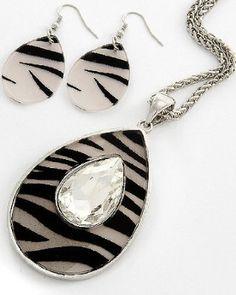 Amazon.com: BLING Designer Style Zebra Tear Drop Crystal Pendant Necklace & Earring Set by Jersey Bling: Jewelry