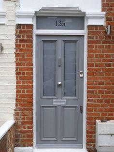 26 Super Ideas For Glass Door Facade Front Entry Front Door Porch, Grey Front Doors, Front Door Entrance, House Front Door, Front Door Colors, Glass Front Door, Front Door Decor, Sliding Glass Door, Front Entry