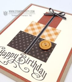Stampin up stampinup stamp it masculine birthday card ideas holiday catalog square punch. Could use same idea in different colors.