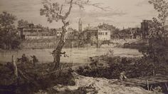 """VIEW OF A VILLAGE BY THE RIVER. etching. 29,6 × 42,6 cm. Signed: """" A. C. """"  ( monogrammist) lower centre. First state of two.     Beautiful proof printed with watermark """"tre mezze lune """" with great margins. State of conservation: excellent. Valeria Bella. Milan. Old Master Prints. 16/10/2013. Lot 5. Estimate: A. R."""