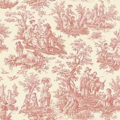 Country Life Red Waverly Wallpaper - Wall Sticker Outlet