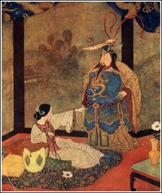 """""""Nay, nay ; I will not marry him"""", The Lady Badoura - A Tale from The Thousand and One Nights. Edmund Dulac's Picture Book for the French Red Cross, 1915"""