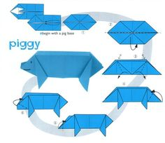 Easy origami. Animals origami with instrutions and diagrams for kids.