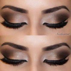For a night out where drama and sophistication are the watchword, a smoky eye look could be just the thing. It doesn't take a makeup artist to do this, either; here's how to create smoky eyes with the makeup most people have at home. Kiss Makeup, Prom Makeup, Cute Makeup, Gorgeous Makeup, Pretty Makeup, Bridal Makeup, Wedding Makeup, Simple Makeup, Makeup Goals
