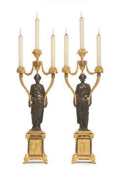 Le salon Talairac, vers 1790 - Paire de candélabres - bronze patiné et bronze doré, vers 1780-1790