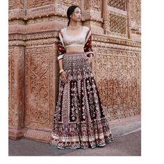 "3,177 Likes, 7 Comments - Anita Dongre (@anitadongre) on Instagram: ""Rich velvets marry intricate embroideries in this maroon lenhenga. Gota patti, dori, pearl, zardosi…"""