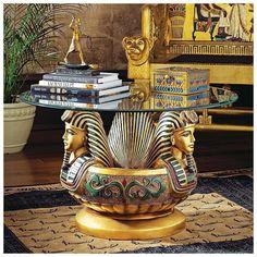 Ancient Egyptian Pharaoh Tutankhamen Sculptural Glass Top Cocktail Table  #Cocktail