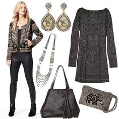 Friends & Family: Enjoy 25% off. Enter code FRIENDS14. #style #fashion #collage #embellishment #soiree #accessories #jacket #dress #bag #necklace #earrings