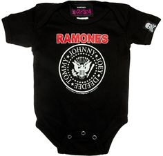 RAMONES LOGO BLACK ONESIE-Another rock n' roll onesie for your rock n roll babe! Get it here www.tattoodshop.com