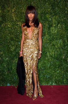 Naomi Campbell dons gold Burberry gown at the 60th London Evening Standard Theatre Awards in Burberry