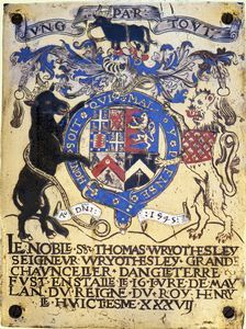 Garter Stall-plate of Thomas Wriothesley, first Earl of Southampton.