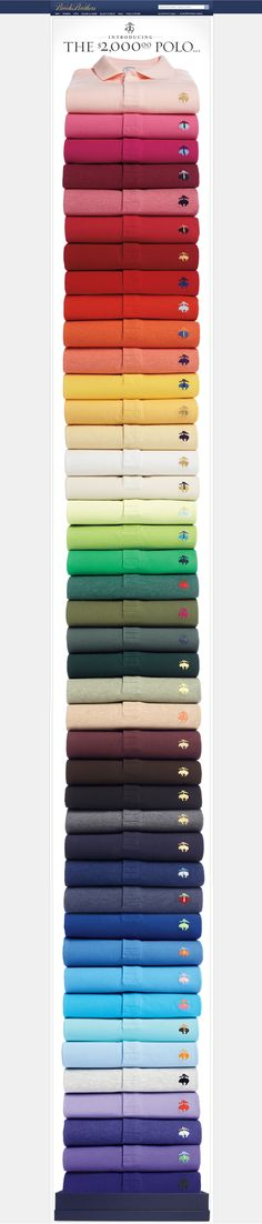 The Brooks Brothers email features a huge stack of polo shirts, in every colour under the sun, it's very long and against the usual 'best practice', but in breaking the rules it communicates the breadth of the product range. Brooks Brothers, Foto Still, Email Newsletter Design, Email Newsletters, Email Design Inspiration, Color Inspiration, Web Design, Le Polo, Camisa Polo