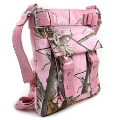 ALL PINK REAL TREE WESTERN COWGIRL CAMO BUCKLE MESSENGER CROSS BODY BAG PURSE