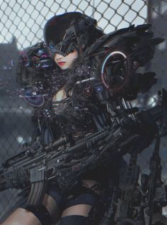 "metal-maniac-starship-mechanic: "" Cyberpunks with Cyber Guns by ATEC """