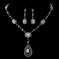 Mesmerizing Silver Clear CZ Bridal Necklace & Earring Set 8608