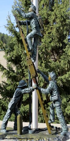Deadwood, South Dakota. A statue to honor and celebrate fire fighters. Click here for travel blog: www.robinballdesignsblog.com