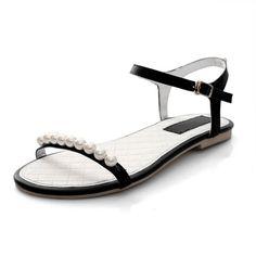 Flat Low Heel Ankle Strap Black  Sandals