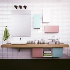 Pastel Bathroom with set of TETREES shelving system #modular #furniture #bathroom #pastel