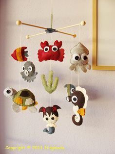 Baby Girl Mobile - Baby Crib Mobile - Nursery Mobile - Handmade Felt Mobile - Hanging Mobile - Under the sea theme