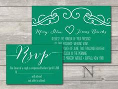 Modern Sketched Scroll Filigree Wedding Invitation with RSVP cards and envelopes by nelliadesigns for $3.75