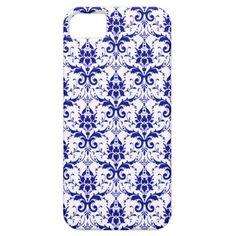 Elegant Blue White Damask Pattern iPhone 5 Case