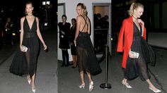 Karlie Kloss Wears Partially Sheer Low-Cut Black Dress for Ritzy Guggenh...