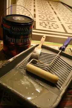 DIY painted floor = Minwax Water Based Polyurethane as a sealer for your floor paint