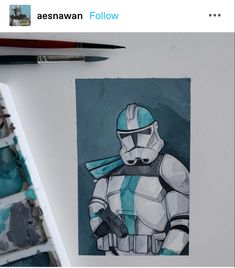 Guerra Dos Clones, Finn Poe, Homemade Stickers, Star Wars Drawings, Original Trilogy, Star Wars Fan Art, Coloured Pencils, Clone Trooper, Star Wars Clone Wars
