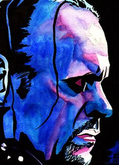 """The Undertaker l Ink and watercolor on 9"""" x 12"""" watercolor paper"""