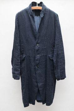 Pas de Calais Navy Linen Coat $624.00
