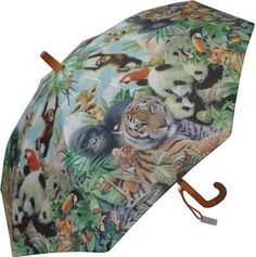KIDS:  Galleria Animal Kingdom Umbrella  This colourful kids umbrella features an all-over print with various animals including tigers, pandas, monkeys, frogs and more! Steel shaft and frame with durable fibreglass ribs. Curved plastic handle with name-tag and patented non-protruding T-shaped tips and pinch-proof runner for safety, manual opening and closing.    CAD $20.00    http://www.raindropsto.com/umbrellas/kids-umbrellas/galleria-animal-kingdom-umbrella