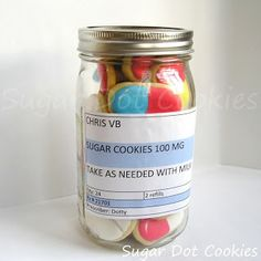DIY Get Well Soon sugar cookies adorably made to look like pain killers and presented in a mason jar. Take two and-- nevermind, have as many as you'd like!