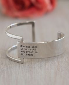 Unique geometric inspired cuff bracelet in plated brass puts a modern twist on a truly inspirational quote for women. Adjustable sizing.
