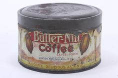 """This listing is for an empty, vintage Butter-Nut Coffee tin can (exact age unknown) with paper label. It stands 3 1/4"""" tall, has a diameter of 5 3/8"""", and has a removable, embossed lid. The paper labe"""