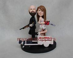 wedding cake topper zombie cake topper kill zombie personalized cake topper custom cake topper for wedding hand made