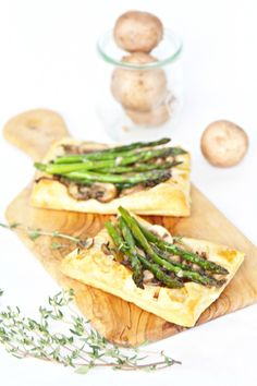 Sauteed Mushroom and Asparagus Puff Pastry Appetizer