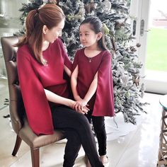 "HOW CUTE CAN THIS GET?! ""Mommy and me"" cape tops! #PattyAng by pattyang_ Filipino Fashion, Red Leather, Leather Jacket, Bell Sleeves, Bell Sleeve Top, Mommy And Me, Cape, Jackets, Women"
