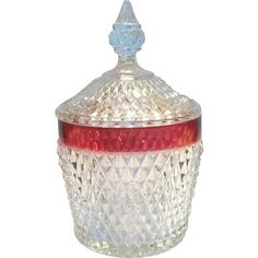 Indiana Glass Co. Cranberry Glass & Diamond Pattern Covered Ice Bucket