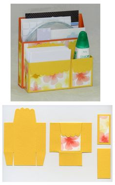 Desk Caddy - Watercolor Wonder DSP - SU Scallop Envelope Die - Cased from (dimensions were changed) Pootles http://pootles.co.uk/2013/10/30/stampin-up-uk-framelits-storage-box-tutorial-video/  AND  Got 2 Stamp http://www.got2stamp.com/got-2-stamp/2010/05/video-tutorial-mini-note-card-holder-using-scallop-envelope-die.html
