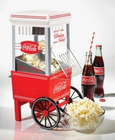 Coca-Cola Hot Air Popcorn Maker , The Nostalgia Electrics& Coca-Cola® Hot Air Popcorn Maker featuring the Coca-Cola® logo and design elements is a tabletop-sized party pleaser. Hot Air Popcorn Popper, Air Popcorn Maker, Air Popper, 1950 Diner, Coca Cola Kitchen, Cola Drinks, A Table, Healthy Snacks, Nostalgia