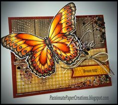 Rhea Weigand made this amazing Fran-tage' Butterfly for her #cre8time with #stampendous#penpattern Butterfly stamps and dies.