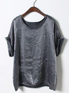 Grey Short Sleeve Loose Chiffon T-Shirt #SheInside