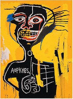 Jean-Michel Basquiat 1982. Saw an excellent exhibit of his work in Brooklyn, NY, a few years ago -- so vivid and intense, angry and funny. Loved it.