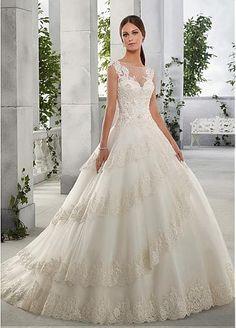 Fabulous Tulle & Satin Bateau Neckline A-Line Wedding Dresses With Beaded Lace Appliques