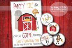 Party til the Cows Come Home with this adorable rustic farm themed birthday party invitation design collection ~ by ASweetLifeDesigns {email: ASweetLifeDesigns@aol.com}