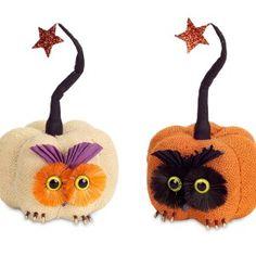 Burlap Owl Pumpkins (Set of 2)