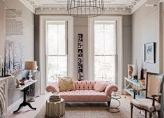 lamb & blonde: Pink Sofa Lust; many photos of pink couches in a variety of hues