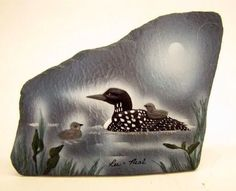 "New Resin Art Shale Rock Painted Slab Figurine 7"" Loon Family 