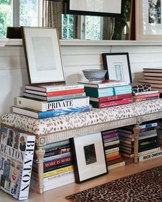 animal print bench makes for a fab 'off the beaten path' book table Mark Sikes, Hollywood Hills, Top Interior Designers, Stack Of Books, Coffee Table Books, Book Table, Decoration, Vignettes, Interior And Exterior