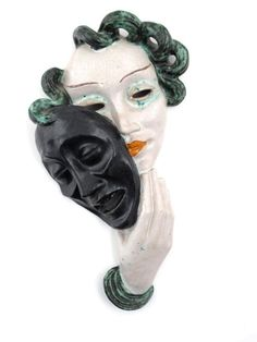 Goldscheider Pottery Tragedy wall mask